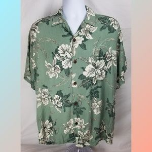 Hilo Hattie Hawaiian Green Tropical Shirt Size L